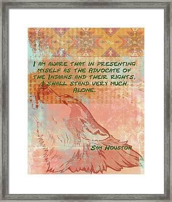 Sam Houston - Advocate Framed Print by Paulette B Wright