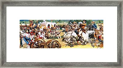 Sam Houston On A White Horse Charging The Mexicans Framed Print by CL Doughty