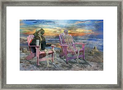 Sam Shares Tales With An Old Friends Framed Print by Betsy Knapp