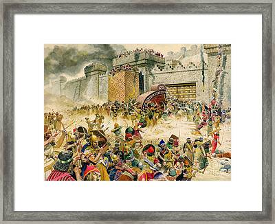 Samaria Falling To The Assyrians Framed Print by Don Lawrence