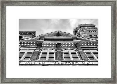 Samford Hall Auburn University  Black And White Framed Print by JC Findley