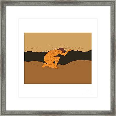 Samoan Atlas Holding Sky From Earth Drawing Framed Print by Aloysius Patrimonio