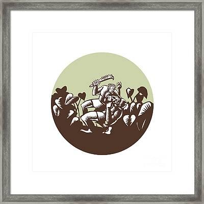 Samoan Losi Club Nifo'oti Weapon Circle Woodcut Framed Print by Aloysius Patrimonio