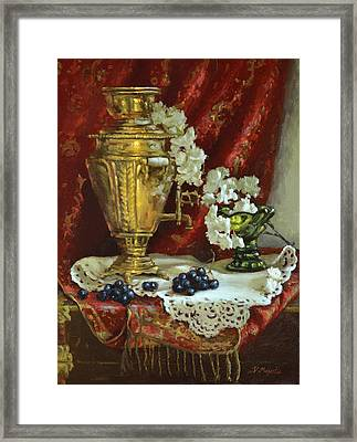Samovar And Cherry Blossoms Framed Print