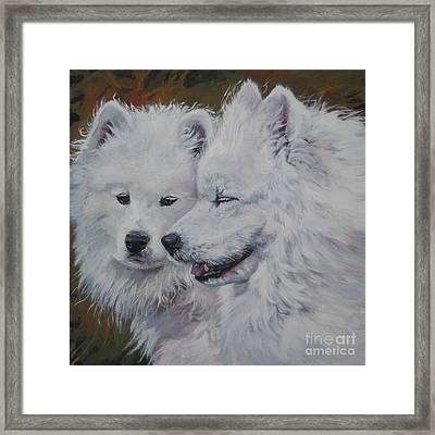 Samoyed Conversation Framed Print by Lee Ann Shepard