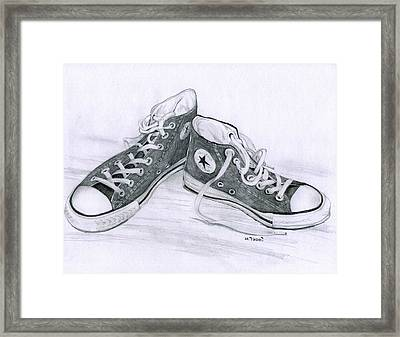 Sam's Shoes Framed Print by Mary Tuomi
