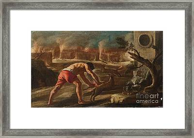 Samson Burning The Cornfields Of The Philistines Framed Print