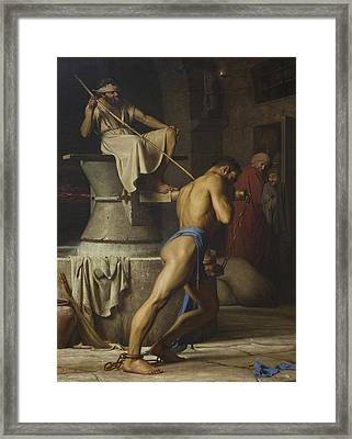 Samson In The Treadmill Framed Print by Celestial Images