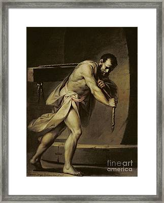 Samson In The Treadmill Framed Print