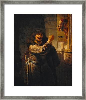 Samson Threatening His Father-in-law Framed Print by Rembrandt
