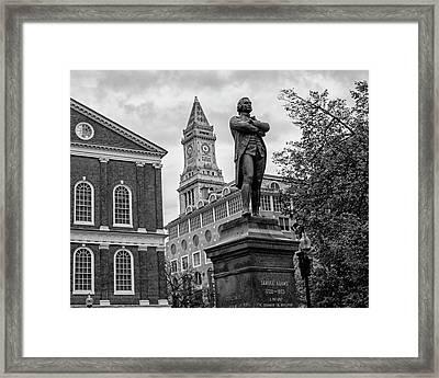 Samuel Adams Statue Fanueil Hall Boston Ma Black And White Framed Print