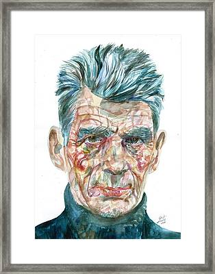 Framed Print featuring the painting Samuel Beckett Watercolor Portrait.10 by Fabrizio Cassetta