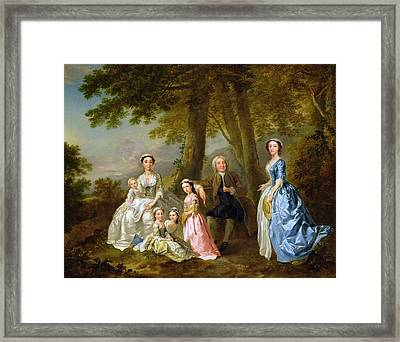 Samuel Richardson Seated With His Family Framed Print by Francis Hayman