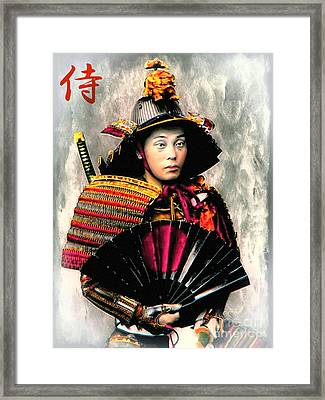 Samurai 1898 With Iron Fan Framed Print by Ian Gledhill