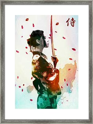 Samurai Girl - Watercolor Painting Framed Print by Ian Gledhill