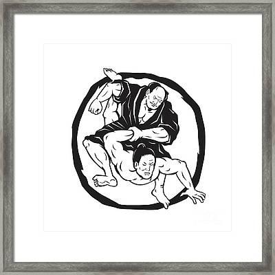Samurai Jiu Jitsu Judo Fighting Drawing Framed Print