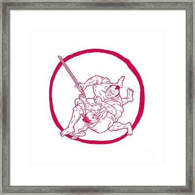 Samurai Jui Jitsu Fighting Enso Drawing Framed Print