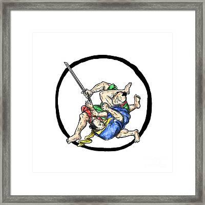 Samurai Jui Jitsu Judo Fighting Enso Tattoo Framed Print