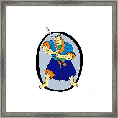 Samurai Warrior Katana Enso Framed Print