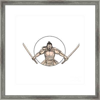 Samurai Warrior Wielding Two Swords Tattoo Framed Print by Aloysius Patrimonio