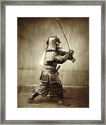 Samurai With Raised Sword Framed Print by F Beato