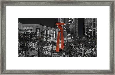 San Antonio La Antorcha De La Amistad Sculpture In Selective Color Framed Print
