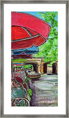 Framed Print featuring the painting San Antonio River Walk Cafe by TM Gand