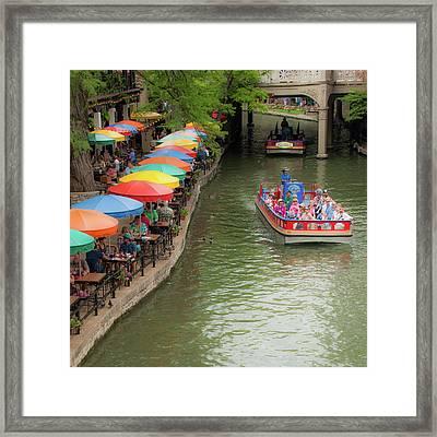 San Antonio Riverwalk Umbrellas 1x1 Framed Print