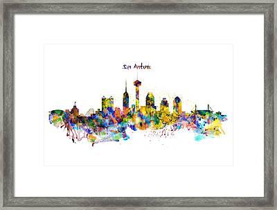San Antonio Skyline Silhouette Framed Print by Marian Voicu