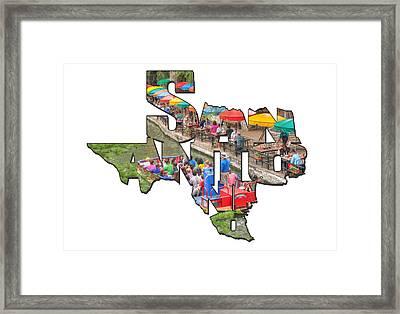 San Antonio Texas Typography - Colorful Riverwalk Of San Antonio Framed Print