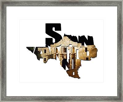 San Antonio Texas Typography - The Alamo At Night Framed Print by Gregory Ballos