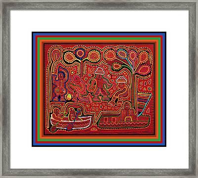 San Blas Cuna Cayuco Boats Framed Print by Vagabond Folk Art - Virginia Vivier