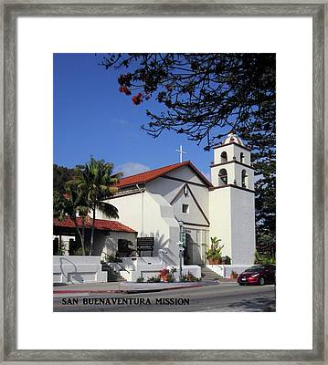 Framed Print featuring the photograph San Buenaventura Mission by Mary Ellen Frazee