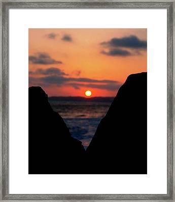San Clemente Beach Rock View Sunset Portrait Framed Print
