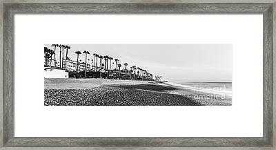 San Clemente Ca Beach Black And White Panorama Photo Framed Print