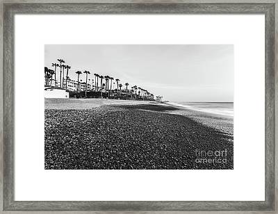 San Clemente Ca Beach Black And White Photo Framed Print