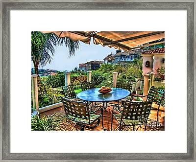 San Clemente Estate Patio Framed Print by Kathy Tarochione