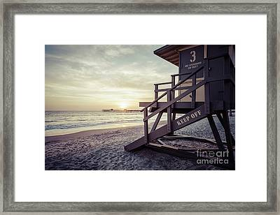 San Clemente Lifeguard Tower 3 Sunset Picture Framed Print