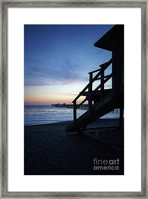 San Clemente Lifeguard Tower One And Pier Sunset Picture Framed Print