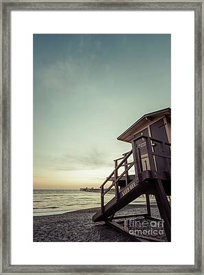 San Clemente Lifeguard Tower One Retro Photo Framed Print
