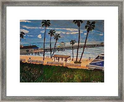 San Clemente Pier And Train Framed Print