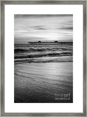 San Clemente Pier High Resolution Black And White Photo Framed Print