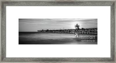 San Clemente Pier Sunset Black And White Panorama Framed Print
