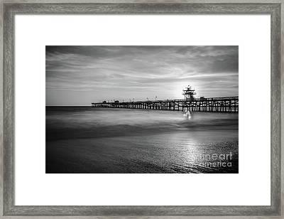 San Clemente Pier Sunset Black And White Photography Framed Print
