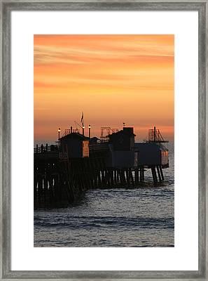 San Clemente Pier Sunset Framed Print by Brad Scott