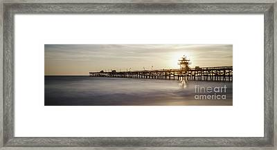 San Clemente Pier Sunset Panorama Framed Print