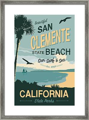 San Clemente State Beach Travel Poster Framed Print