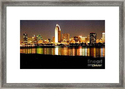 San Diego Skyline With Reflections On Mission Bay Framed Print
