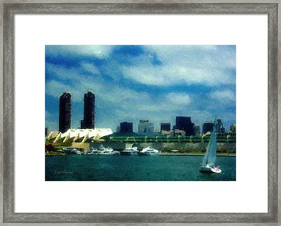 San Diego Bay -  Convention Center Framed Print by Russ Harris