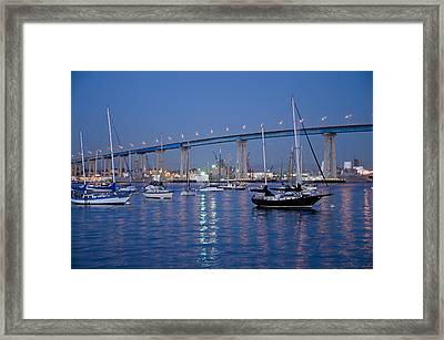 Framed Print featuring the photograph San Diego Bay At Nightfall by Margaret Pitcher
